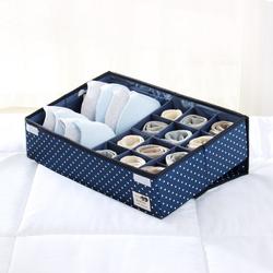 天纵24格内衣收纳盒有盖布艺内裤袜子收纳盒抽屉式分隔家用文胸大