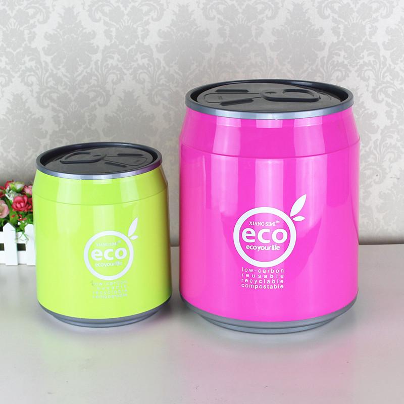 时尚创意可乐罐式垃圾桶卫生间厨房客厅塑料易拉罐家用自动翻盖桶