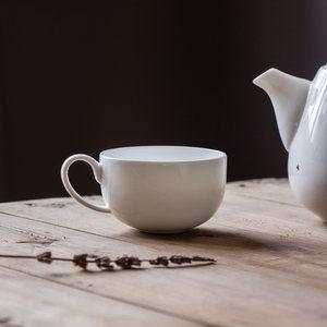 阿七|圆意|功夫茶杯 小带把单杯花茶杯纯白色咖啡杯骨瓷茶具陶瓷
