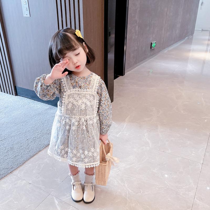 幼童新款春装女宝宝时髦碎花甜美连衣裙儿童3连身裙两件套5岁童装