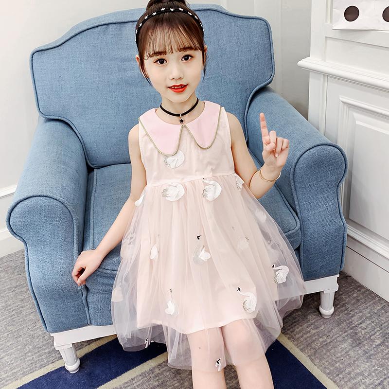 夏装女童小天鹅刺绣网纱拼接无袖连衣裙儿童网红公主裙洋气连身裙
