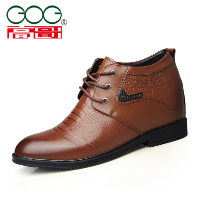Gaoge 54552 crocodile embossed leather lace up 7cm formal high top mens shoes with plush leather shoes