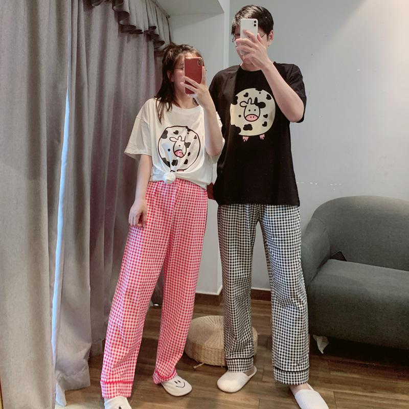 2021年新款可爱奶牛情侣睡衣春夏季短袖长裤男士家居服套装可外穿
