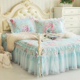 防滑床裙单件全棉双层花边床罩纯棉席梦思保护套韩式公主床单床笠