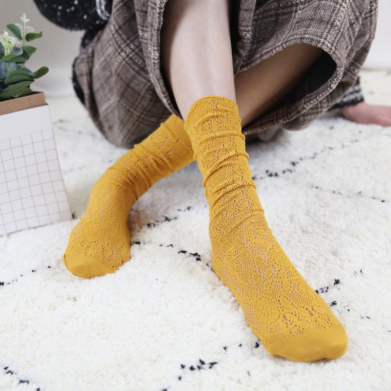 韩国春秋夏季复古女袜日系超薄款镂空蕾丝堆堆袜百搭中筒袜子潮流