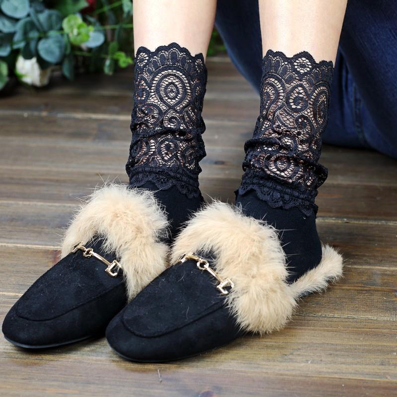韩版学院风四季女袜蕾丝袜复古花边袜时尚中筒纯棉袜子镂空堆堆袜