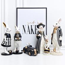 HSHアメリカの裁判所のどかな村光贅沢な黒の金のウサギの置物北欧ベッドルームのリビングルームの家具工芸