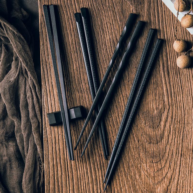 创意合金筷子 好看的日式尖头筷子餐饮具碗筷 黑色高档防滑家用
