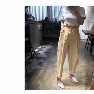 2019夏季新款丝麻面料薄款花苞裤哈伦裤小脚裤