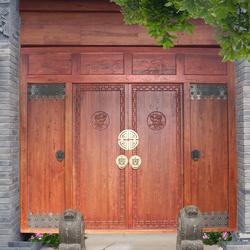 老榆木门楼别墅会馆四合院中式餐饮门头实木大门定制仿古双开木门