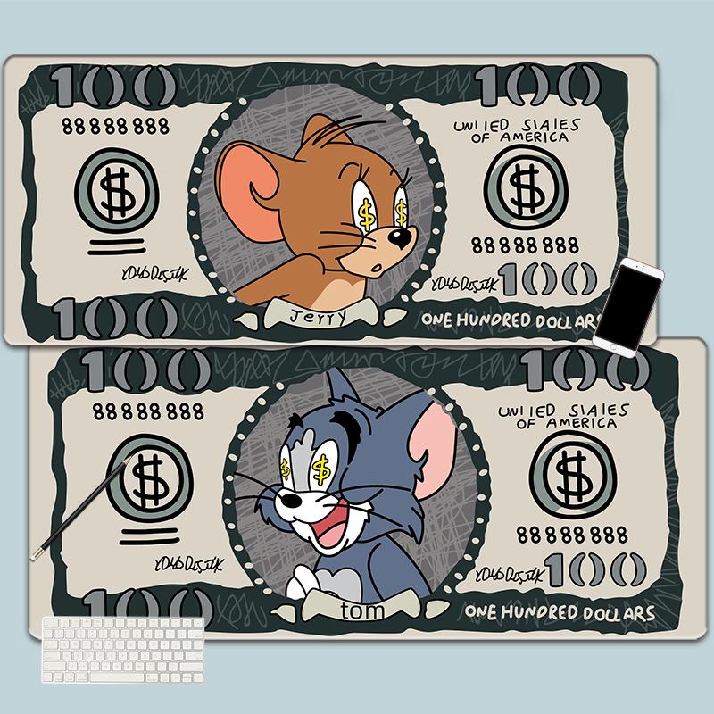 汤姆猫和杰瑞老鼠超大鼠标垫加长加厚锁边电脑键盘办公课书桌垫