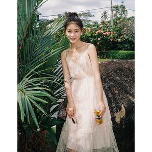 梅子熟了很仙的仙女裙chic温柔复古蕾丝吊带连衣裙2019夏季新款