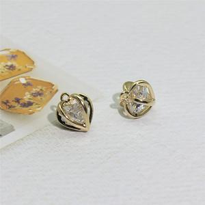 镀金水钻心型吊坠饰品DIY装饰用爱心挂件手链项链搭配项坠