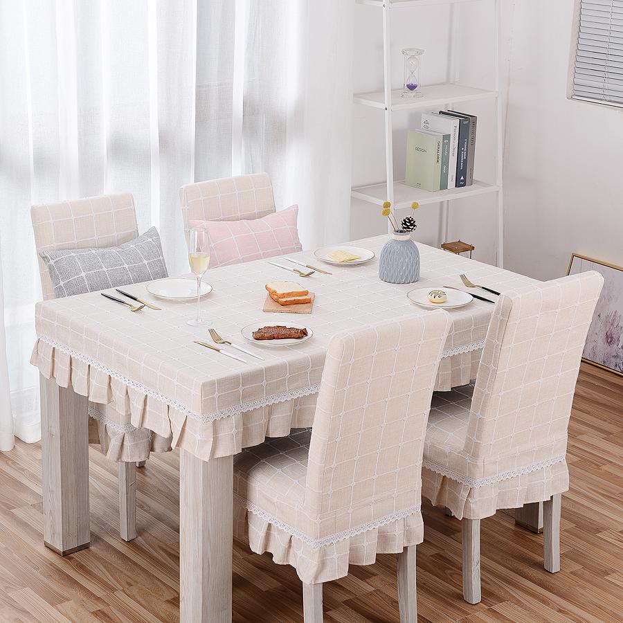 棉麻格子連體椅套 餐椅套 幼兒園 美甲椅套桌罩 桌布 定做