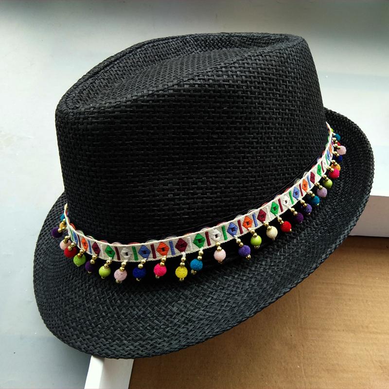 民族风夏季新款英伦流苏复古爵士帽