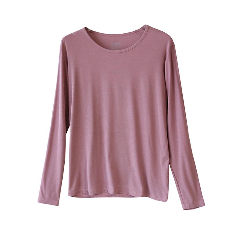 太舒服了~丝滑!莫代尔圆领纯色T恤女长袖宽松薄款打底衫春秋韩版
