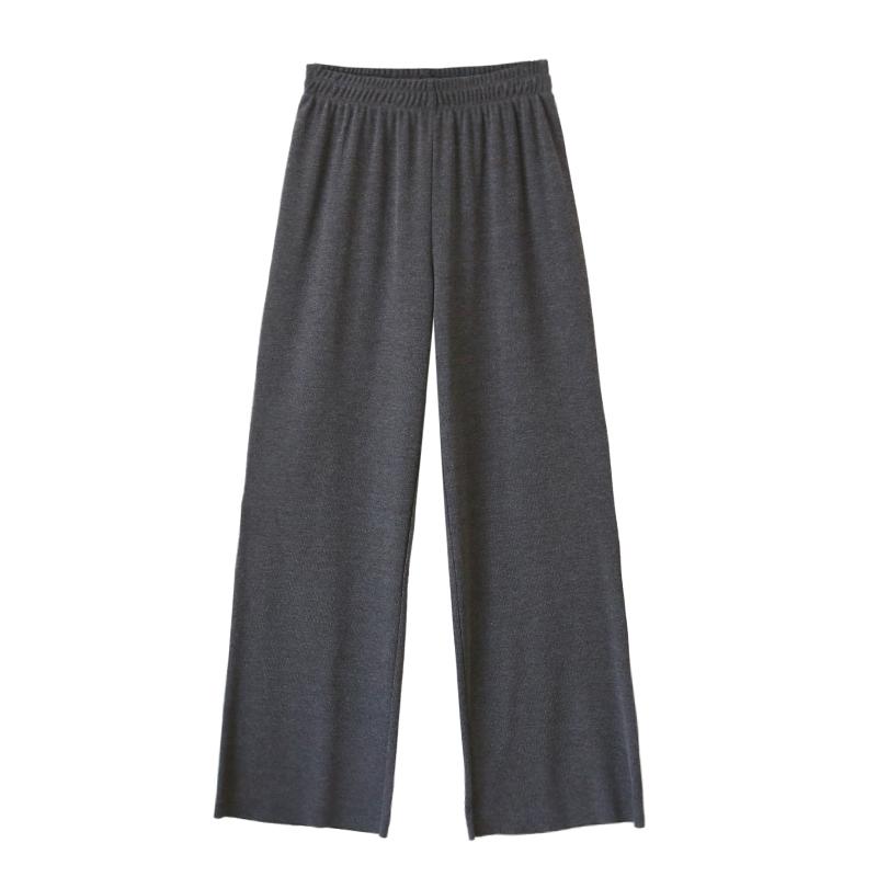 针织阔腿裤女宽松高腰长裤子