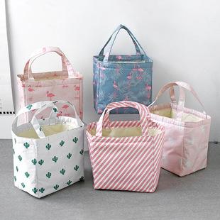 【包邮】韩版清新饭盒袋帆布手提保温袋子铝箔妈咪午餐装带饭