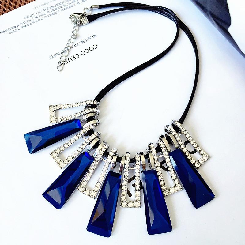 欧美夸张短款饰品流行水晶项饰女气质时尚简约项链项饰品necklace