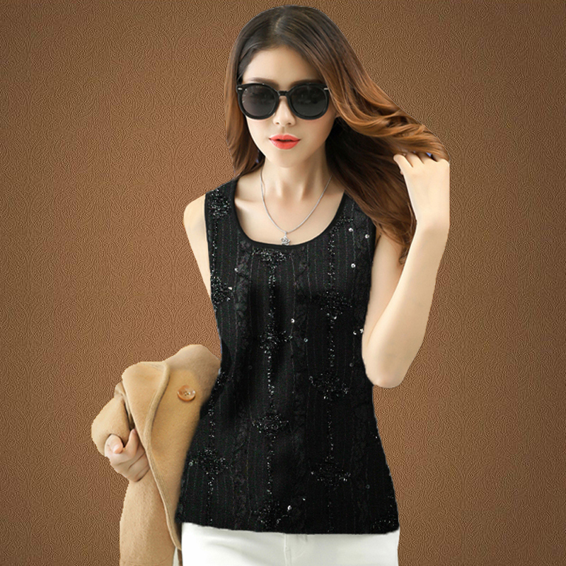Autumn and winter large silver Sequin bottomed vest womens short slim suspender with round neck and sleeve less