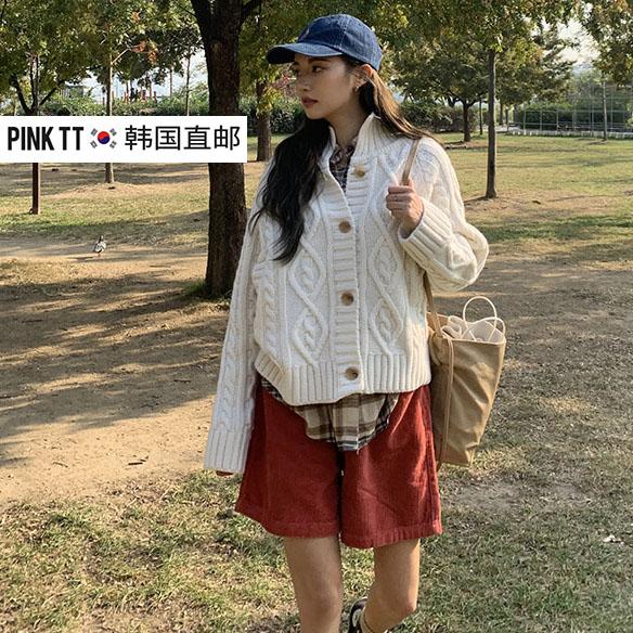 韩国2019冬季ins女生奶油白色宽松针织开衫复古厚毛衣外套