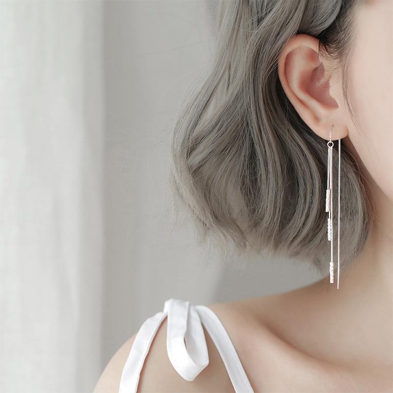 长款流苏耳坠气质s925纯银耳线2019新款潮超仙高级感耳环女耳饰品