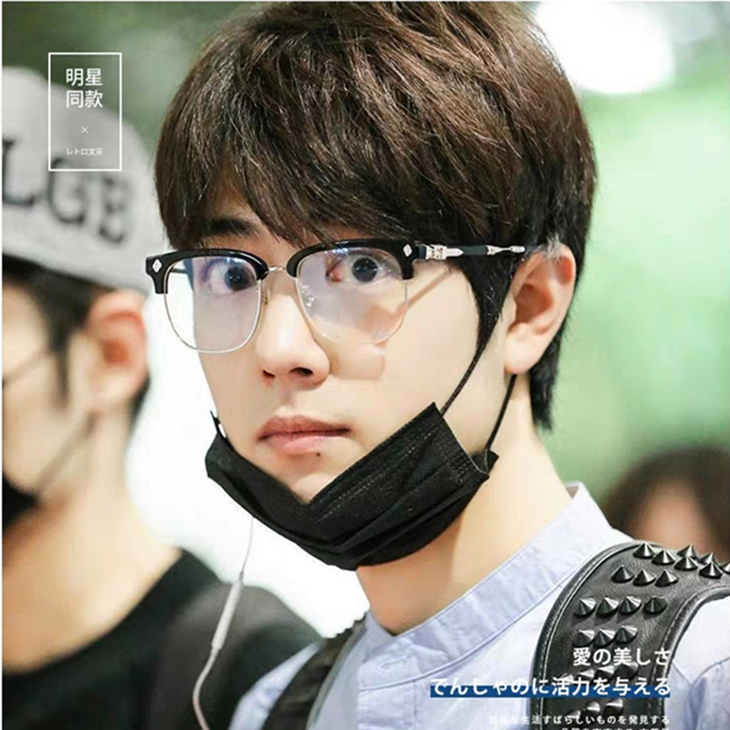 Xiao Zhan, Zhou Jielun, the same spectacle frame, mens big face, full frame, retro womens myopia, flat mirror, anti blue light eye frame