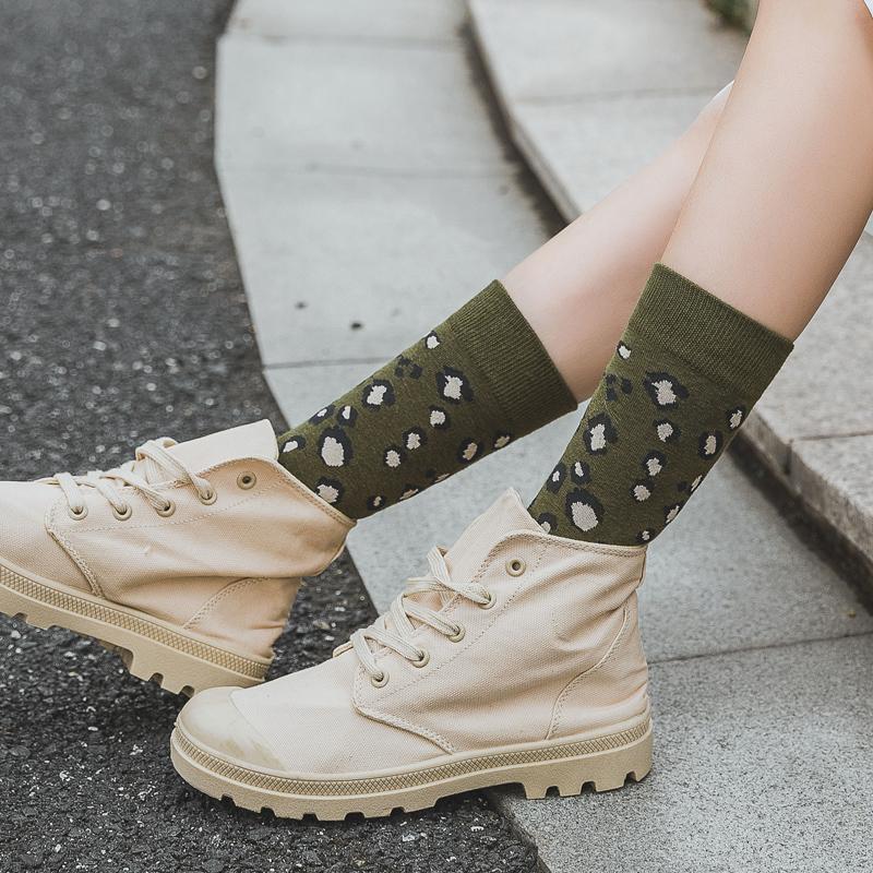 豹纹袜子女韩版ulzzang纯棉学院风ins潮日系复古长袜女堆堆中筒袜