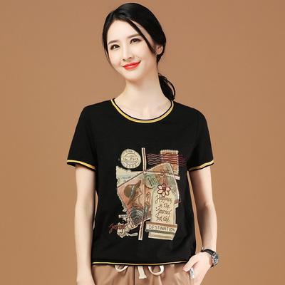 韩潮袭人印花宽松黑色T恤2021年夏季新款短袖拼接休闲女士上衣薄