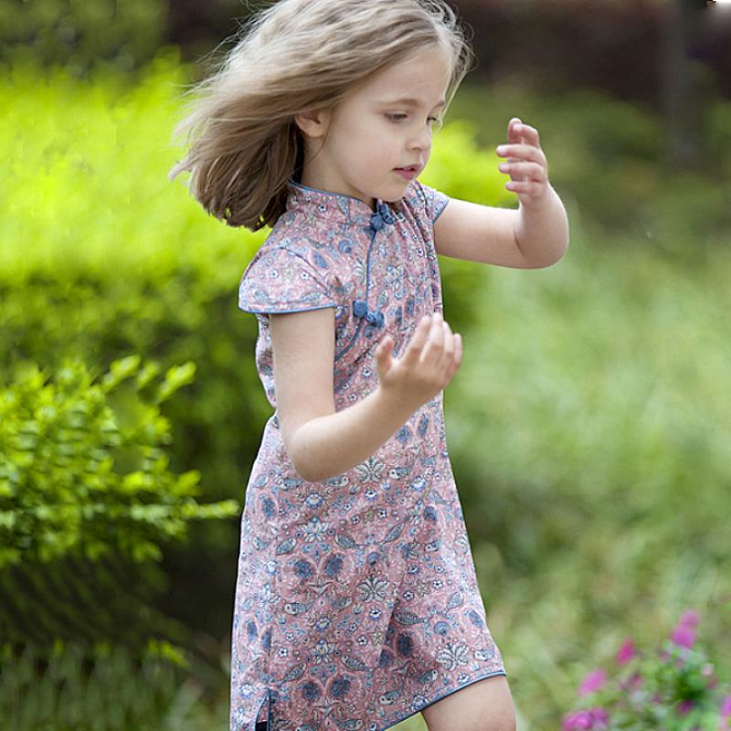 雅童小铺 粉底双鱼全棉短袖旗袍裙 儿童裙子 女童夏季裙子 童装