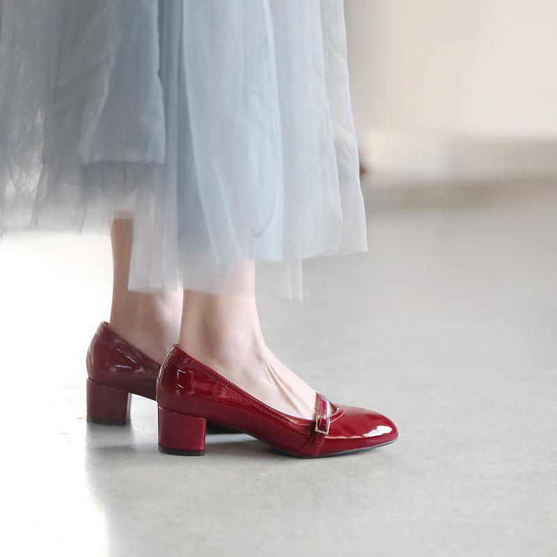 青衣自制复古玛丽珍小皮鞋粗跟防滑高跟鞋上班2020春季中跟单鞋女