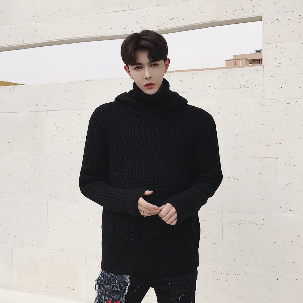 Winter solid color thickened mens high neck Hooded Sweater Korean version slim and warm casual T-shirt long sleeve coat fashion