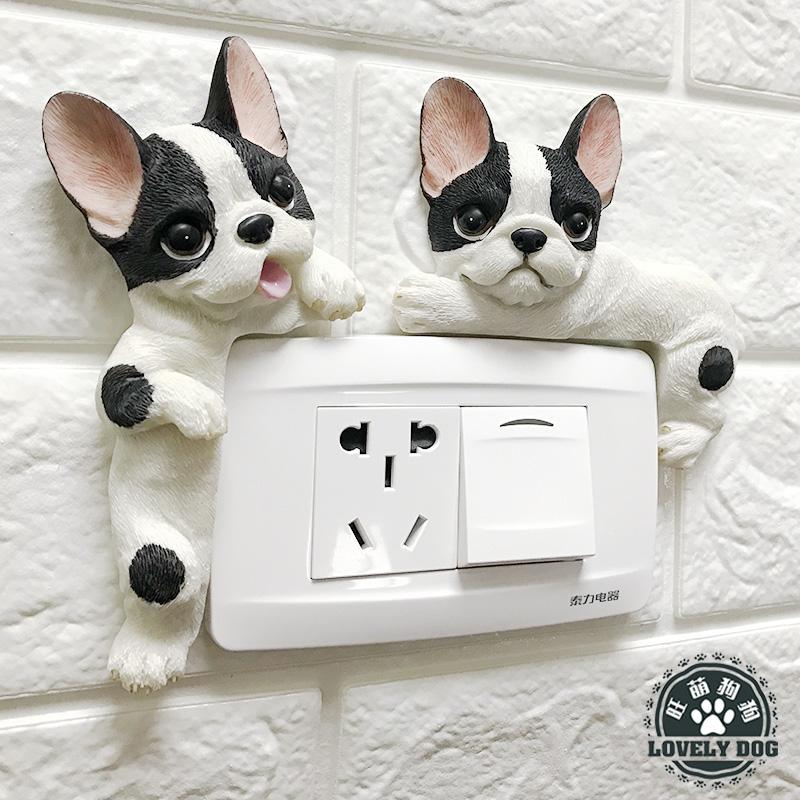 可爱卡通法斗立体树脂开关贴电源保护套寝室创意插座贴双开关墙贴