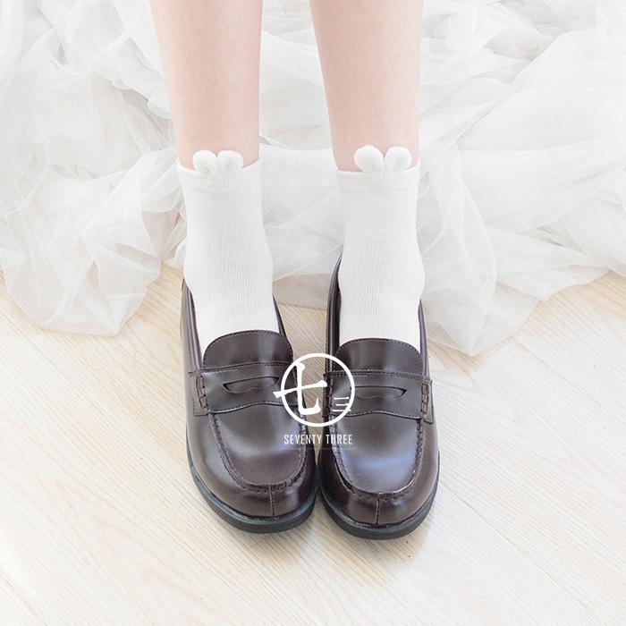 全店3件包邮  秋冬新品 超萌超可爱立体小兔子毛球球短袜纯棉女袜