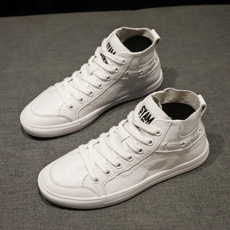 Small white shoes womens autumn 2020 new leather lace up high top shoes Korean fashion versatile board shoes sports leisure Womens shoes
