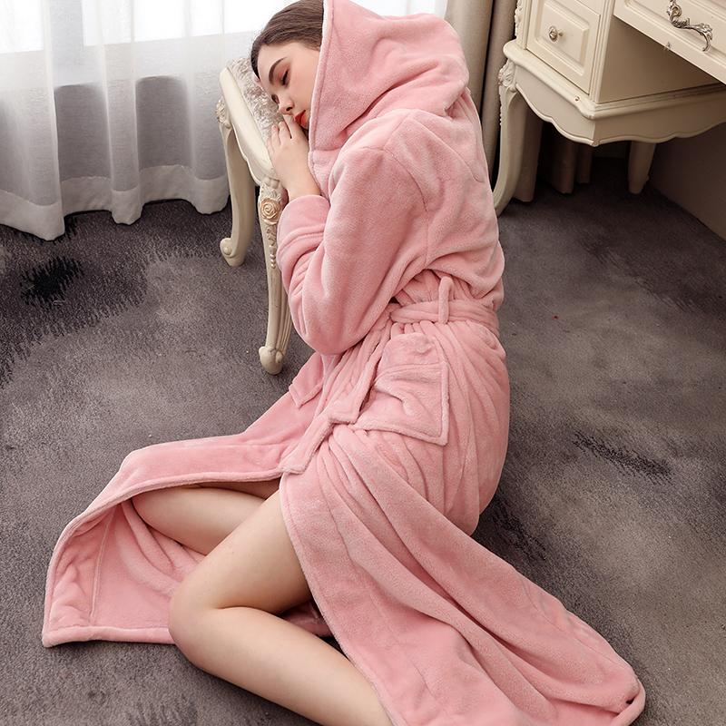 连帽法兰绒冬季加长款加大码天睡袍