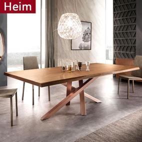 北欧实木会议桌长桌原木工作台餐桌