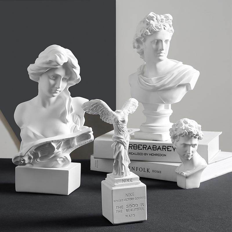 10-12新券北欧大卫石膏头像创意客厅书架雕像