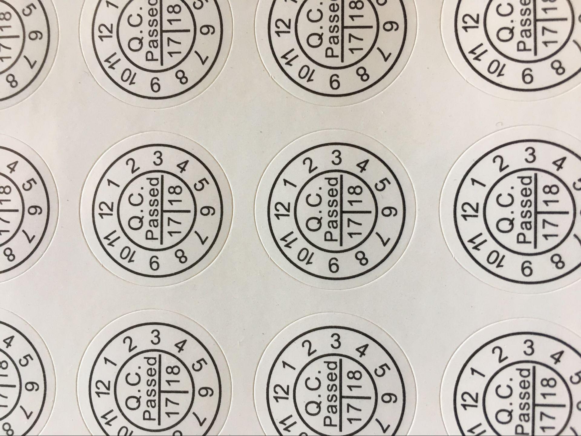 现货合格证,2CM QC PASS标签,年份月份日期QC圆形不干胶贴纸