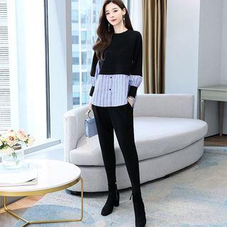 秋季拼接上衣休闲时尚套装裤2021年新款女装初秋两件套洋气减龄潮