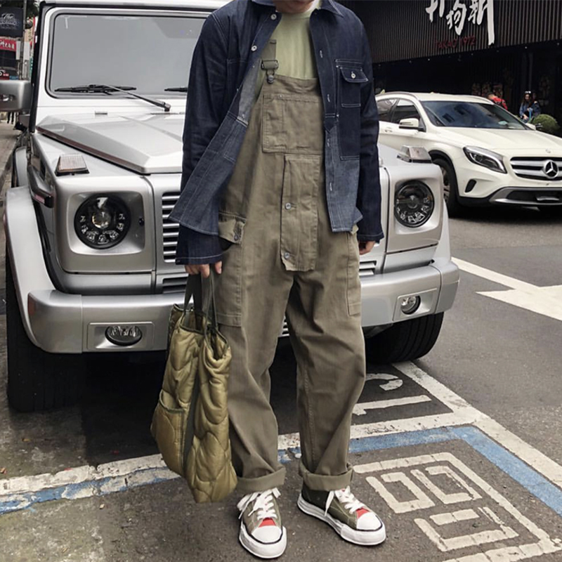 Yu wenle fashion Japanese retro loose tooling one-piece suspenders mens hip-hop wide leg daddy Suspenders