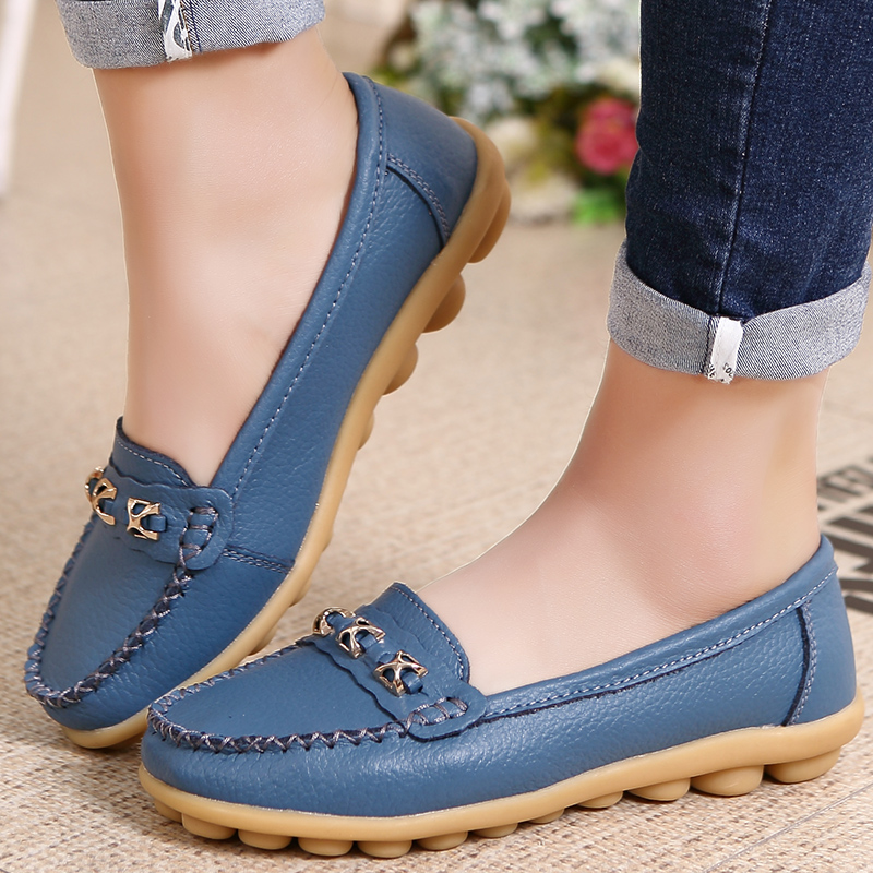 Spring and autumn flat bottomed Doudou shoes womens casual single shoes cow sinew soled mothers shoes non slip soft soled pregnant womens shoes white nurses shoes