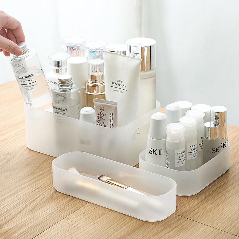 居家家透明化妆品收纳盒桌面化妆刷桶护肤品口红整理盒面膜储物盒