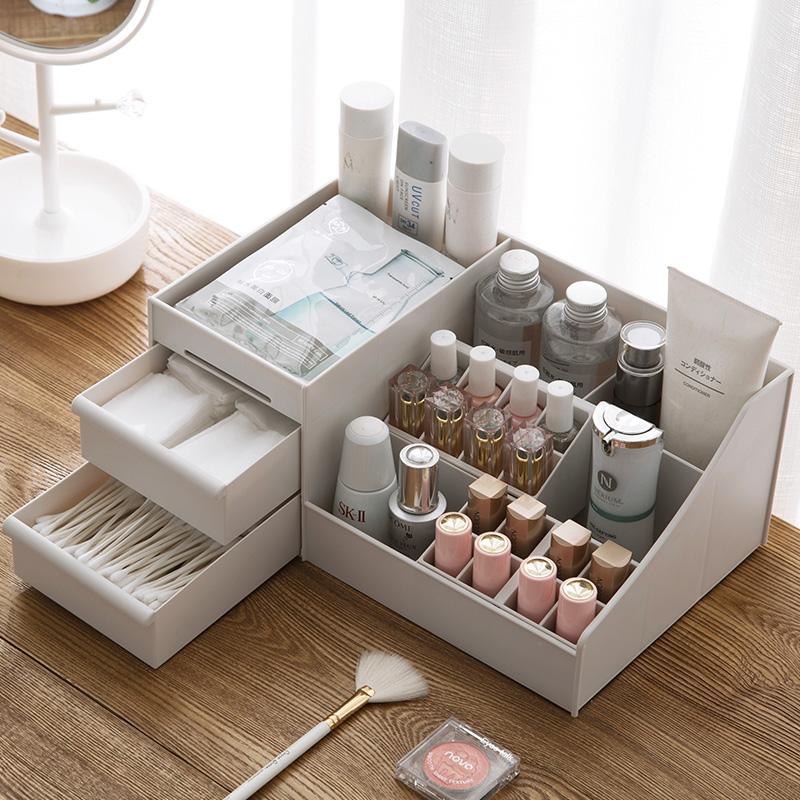 居家家化妆品收纳盒桌面办公桌学生宿舍分格化妆刷口红面膜置物架
