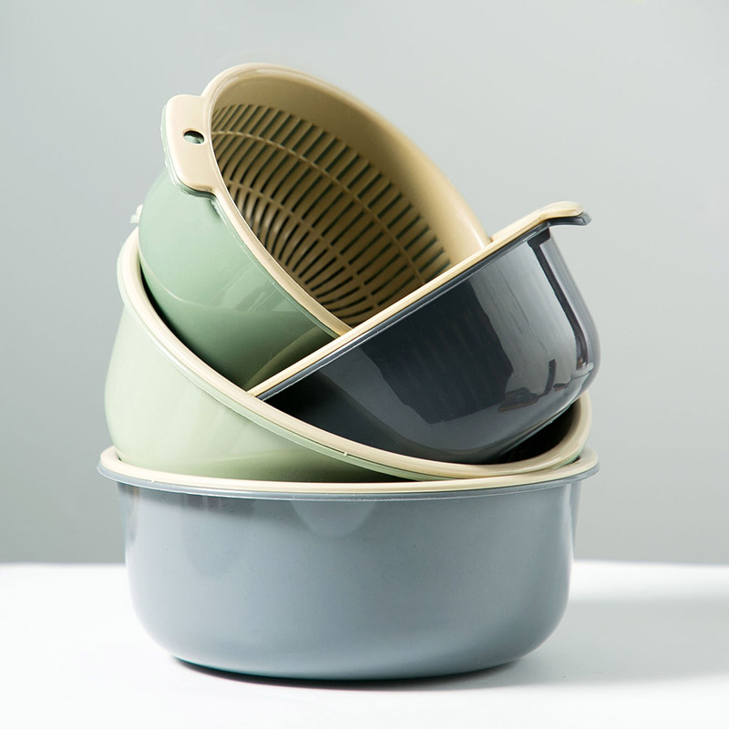 双层镂空水果盆洗水果沥水篮家用水果篮创意塑料洗菜篮厨房洗菜盆