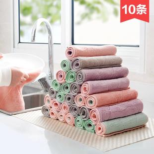 居家家吸水洗碗布厨房清洁布毛巾10条加厚不沾油不掉毛抹布擦手巾价格