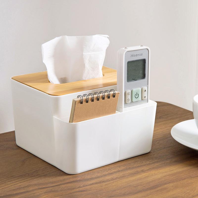 居家家竹木盖纸巾盒创意桌面抽纸盒家用客厅简约塑料遥控器收纳盒
