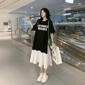RS25553#夏季新品韩版宽松大码女装假两件套A字版型短袖T恤裙