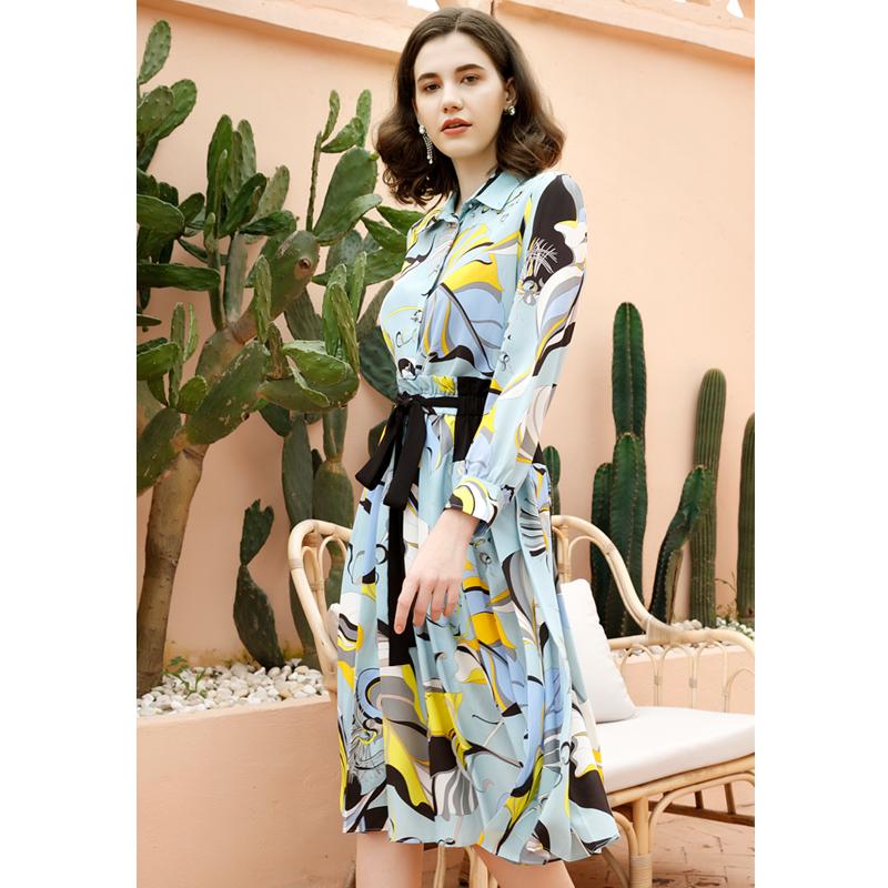 Summer new super sweet leaf print slim TIE LAPEL long sleeve silk suit skirt two piece set
