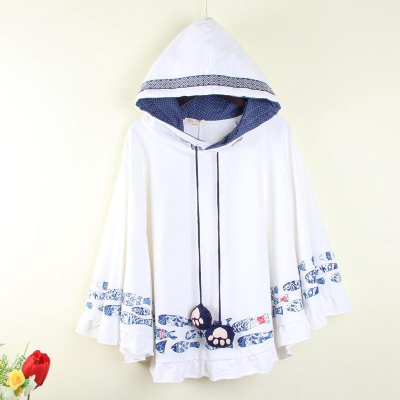 2018秋季新款森女装卡通鱼斗篷短外套长袖系带少女学生上衣蝙蝠衫